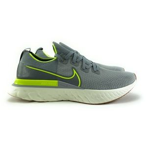 Nike Men's React Infinity Run Flyknit Grey Volt Running Shoes CD4371-008 Size 14